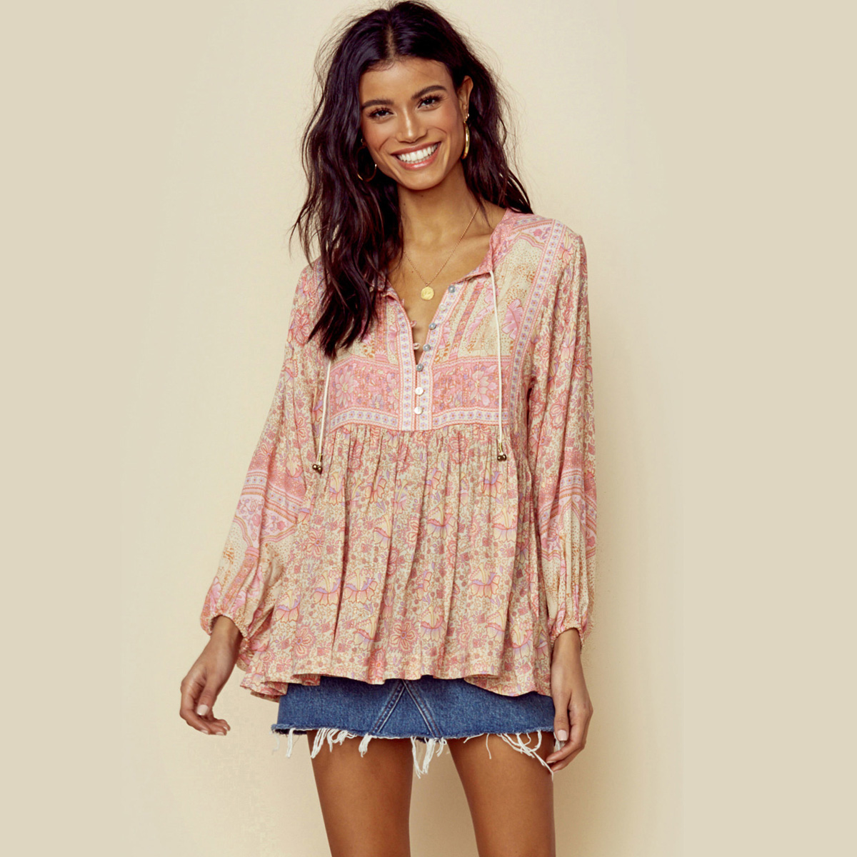 Jastie Gypsy Floral Print   Blouse     Shirt   V-Neck Button Chic Boho   Shirts   Top Long Sleeve Spring Summer Top Women   Blouses   Beach Tops