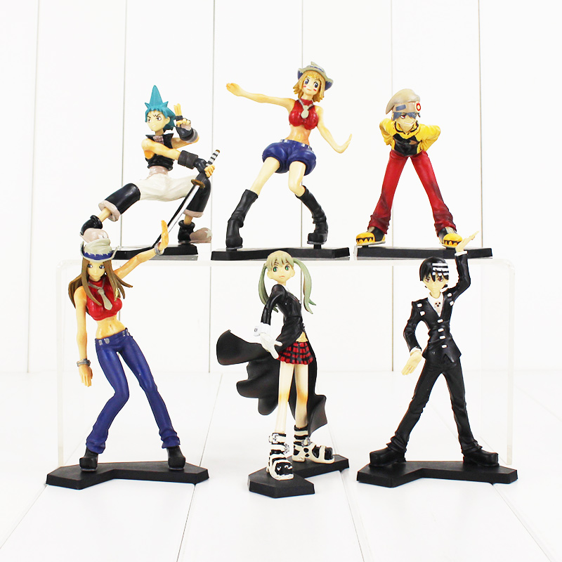 цена на 6pcs/set Anime Soul Eater Maka Black Star Death the Kid Lizu PVC Action Figures Collectible Toys
