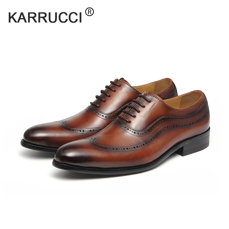 KARRUCCI Round Toe brogues medallion 100% genuine calf leather men dress weedding party shoes brogues frank daniel brogues
