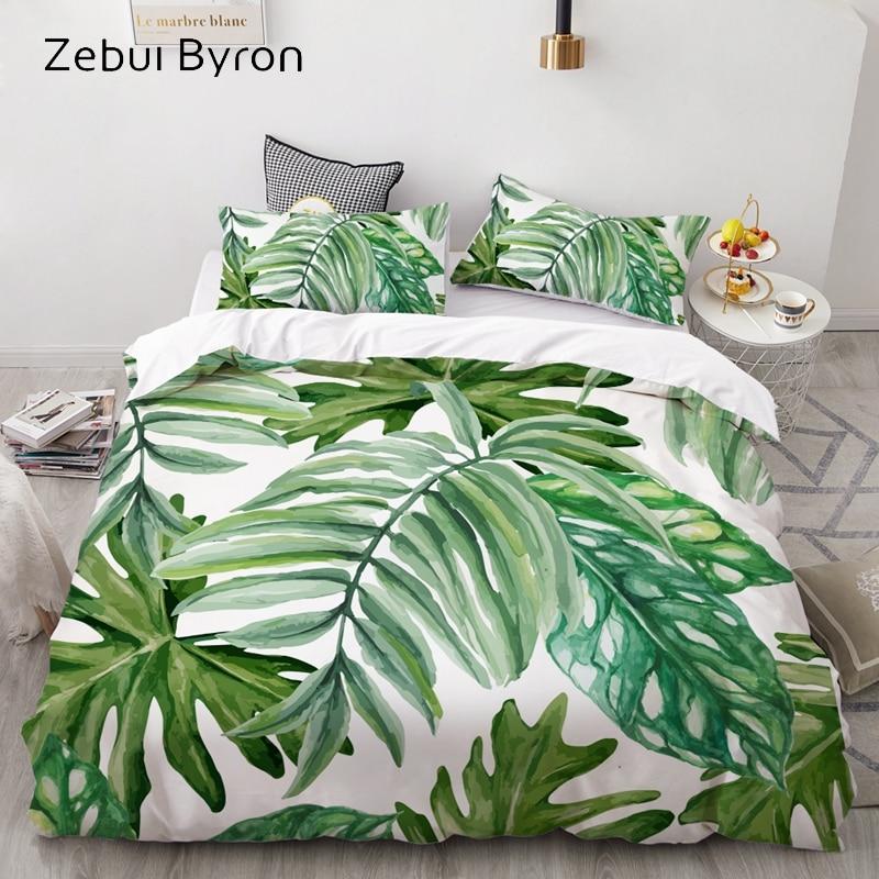 3D Bedding Set Custom/King/Europe/USA,Duvet Cover Set Queen/King,Quilt/Blanket Cover Set,Bedclothes Nordic Eucalyptus Leaves