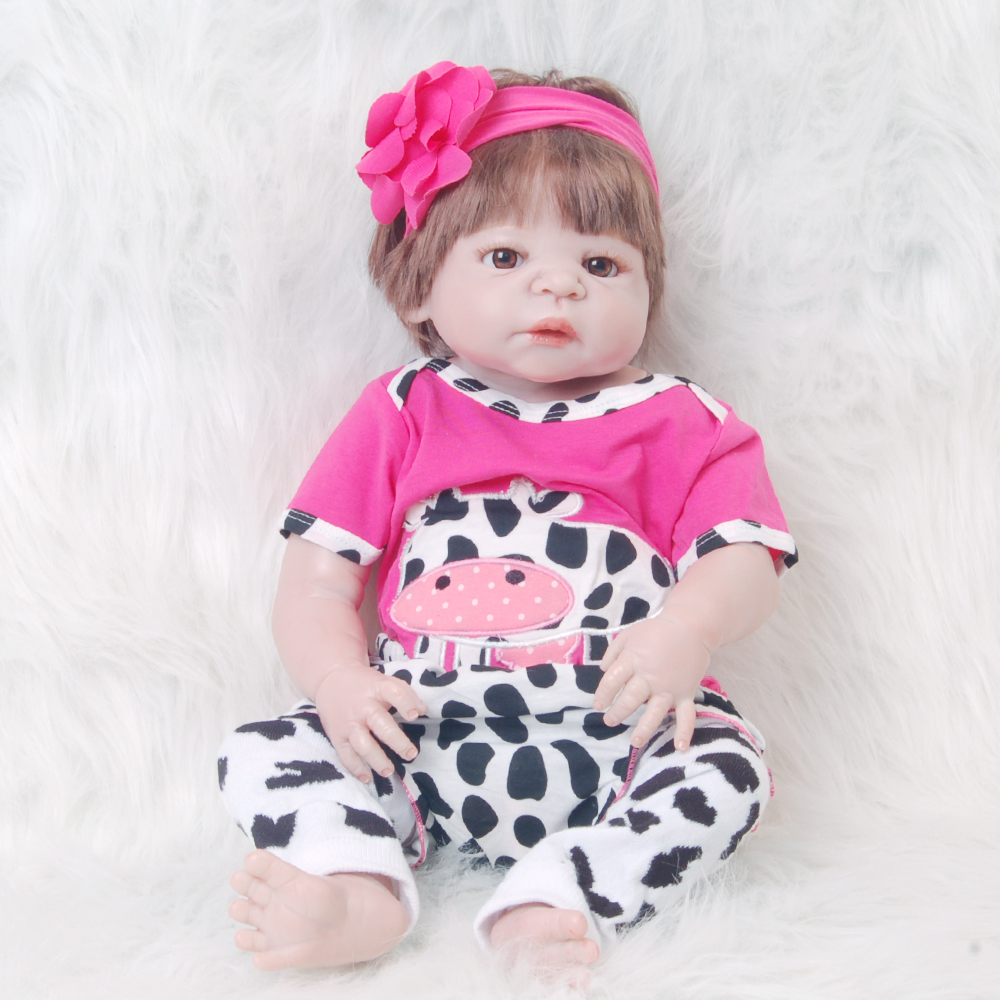 23 Inch Realistic Reborn Baby Girl Full Silicone Body 57 cm New born Doll Real Looking Rebirth Doll Toy For Kid Birthday Present цена