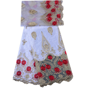 White Bazin Riche Getzner With Stones High Quality African Guinea Brocade Fabrics Nigerian Net Lace For Women 5yard 1293