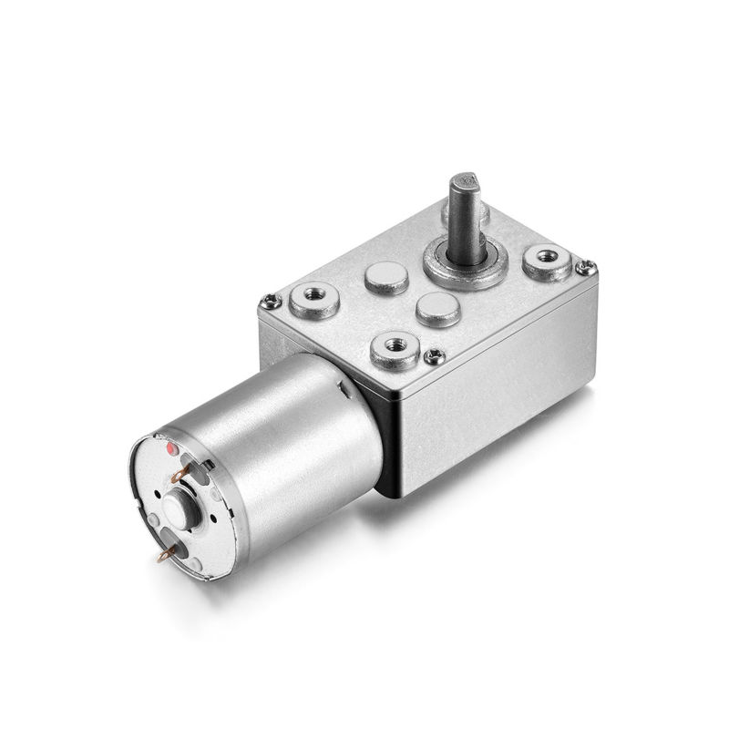 UXCEL Hot Sale DC 12V 200RPM Reversible Worm Geared Motor 2 Pins 6mm D Shaft High Torque Turbine Worm Gear Box Reduction Motor