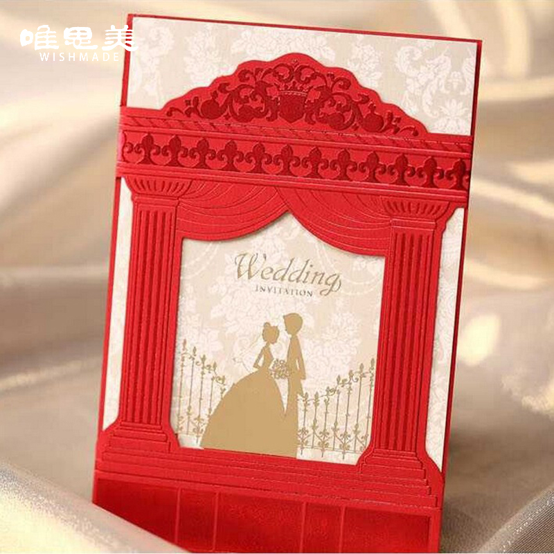 Wishmade European Style Red Church Wedding Invitations Elegant Bronzing Gold  Groomu0026Bride Favors Cards With Envelopes CW1009