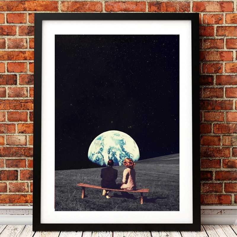 Utilizamos para vivir allí la impresión y el póster del arte de la tierra, la pintura del espacio de la galaxia del surrealismo cuadro de la pared de la decoración del arte de la ciencia ficción