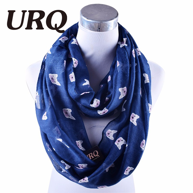 Winter Viscose Loop Scarf For Women  Animal Print Infinity Scarfs Dog Style Winter Cotton  Scarves Wraps V8A18729