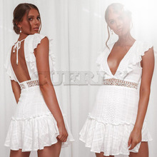 CUERLY 2019 Fashion Women Clothing Summer Lace Up Dress Female Hollow Out White Dress Boho Sexy Party Women Dress Vestidos L8 цена и фото