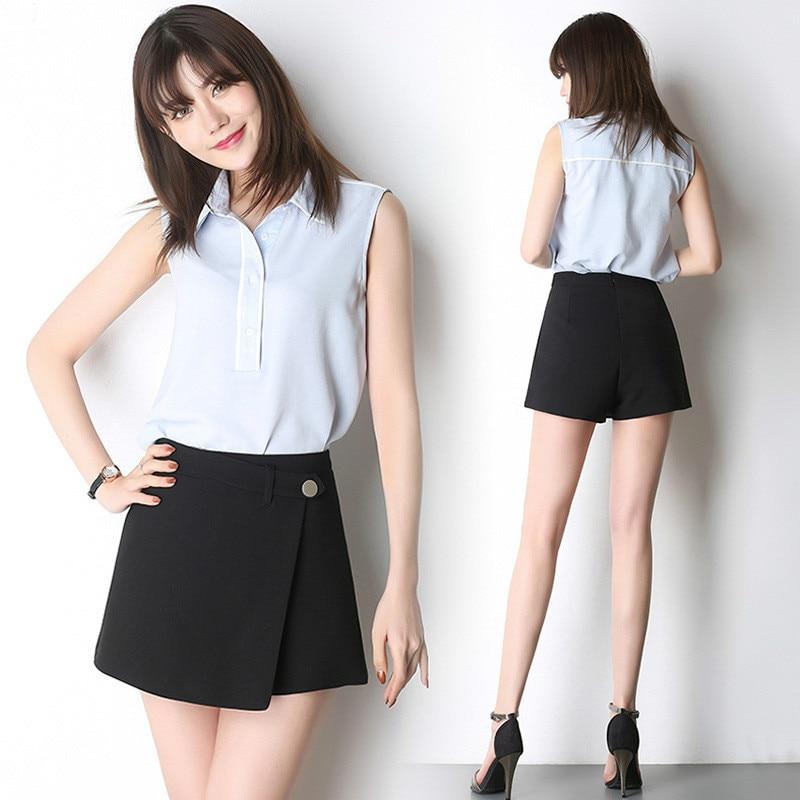 Summer Women High Waist Black Shorts Hot Sexy Wide Leg Shorts Skirts Ladies Office Wear Wholesale Girls Street Business Wear
