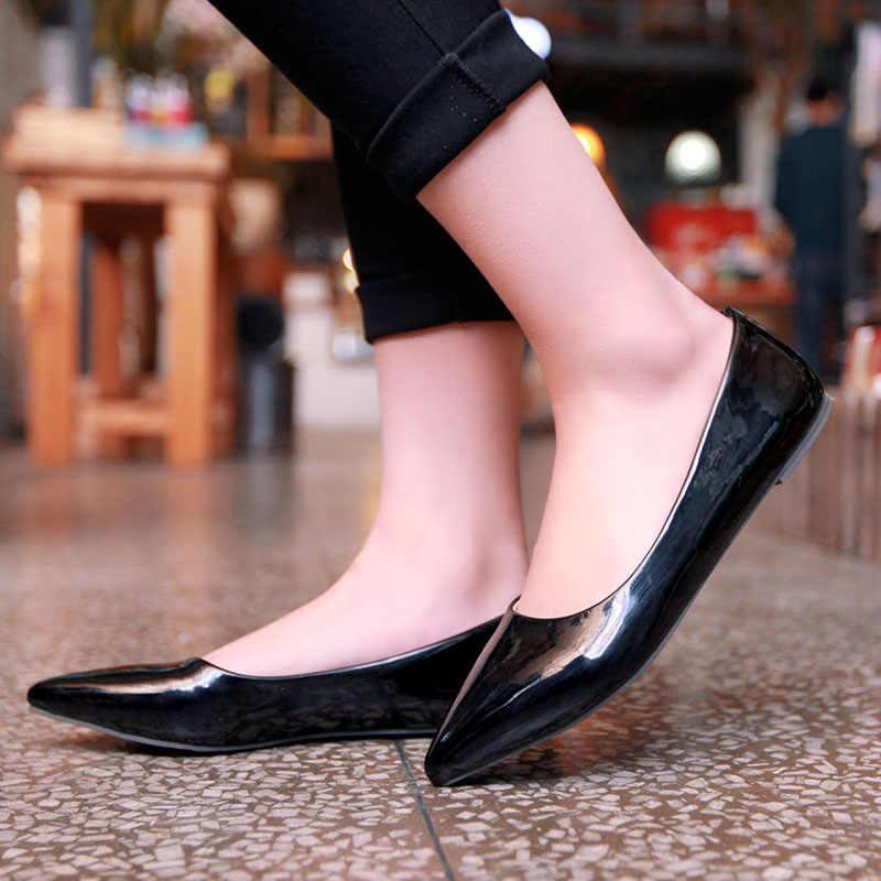 ZJVI Для женщин обувь на плоской подошве с острым носком 2019 Весна-осень из искусственной лакированной кожи туфли на плоской подошве женские Для женщин s элегантные деловые Вечерние обувь большой размер 4–14