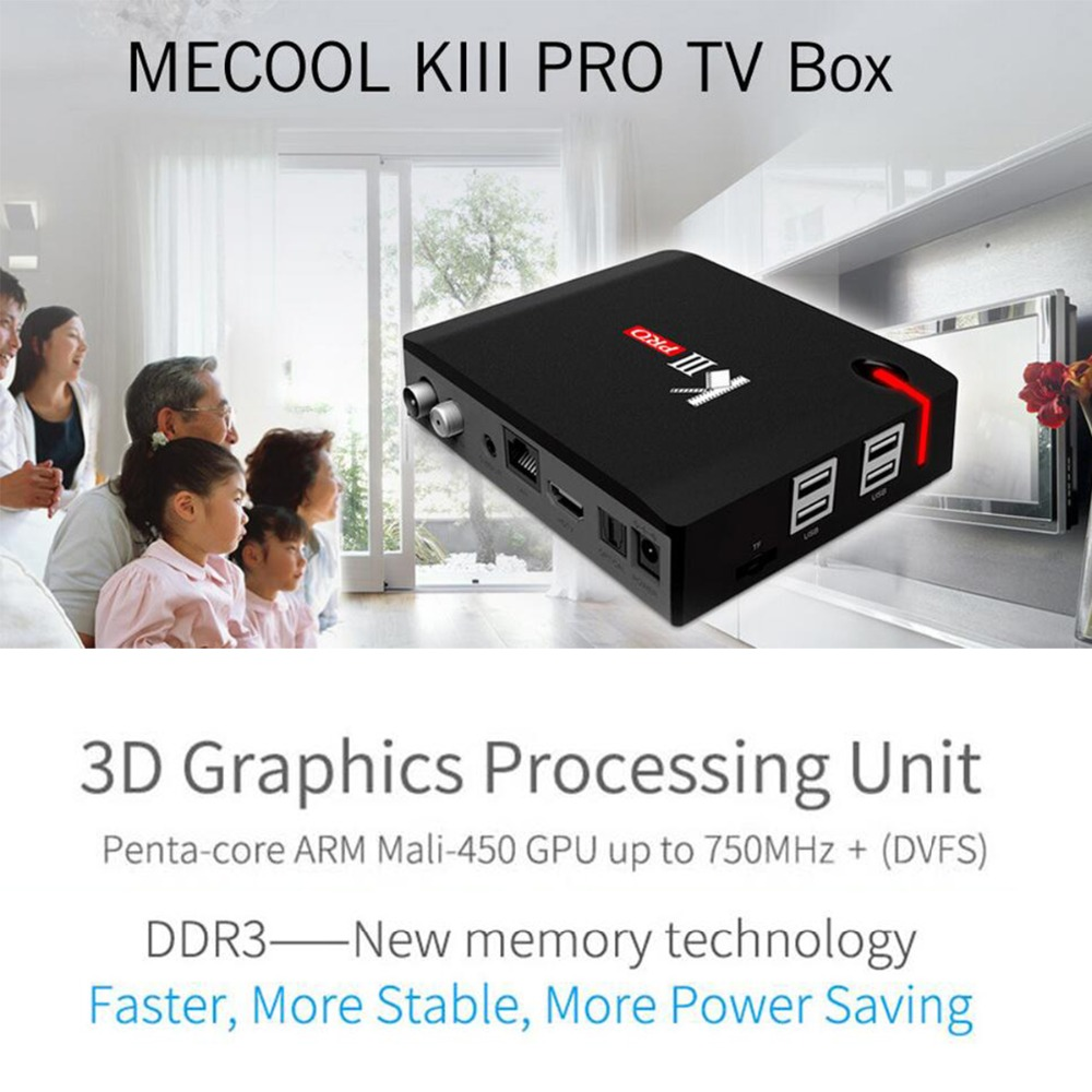 MECOOL KIII PRO Smart TV Box Amlogic S912 S2 T2 DVB Octa Core Android6.0 3G RAM 16G ROM Bluetooth 4.0 Set Top Box Media Player