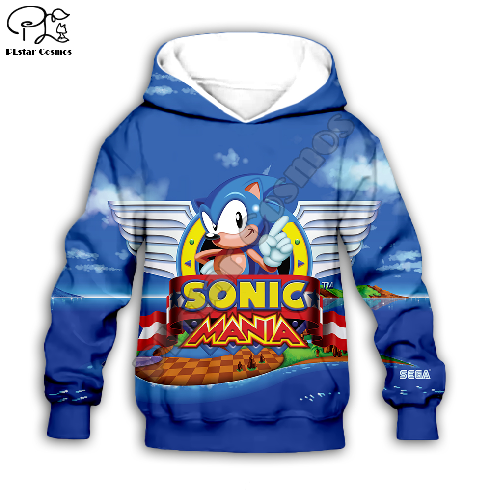 Anime Super Sonic 3d Hoodies Children zipper coat Long Sleeve Pullover Cartoon Sweatshirt Tracksuit Hooded/pants/family t shirts