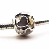 Convient Pandora bracelet 925 bijoux en argent sterling Lumineux Coeurs charme Perles D'origine charme diy faisant pour femmes en gros