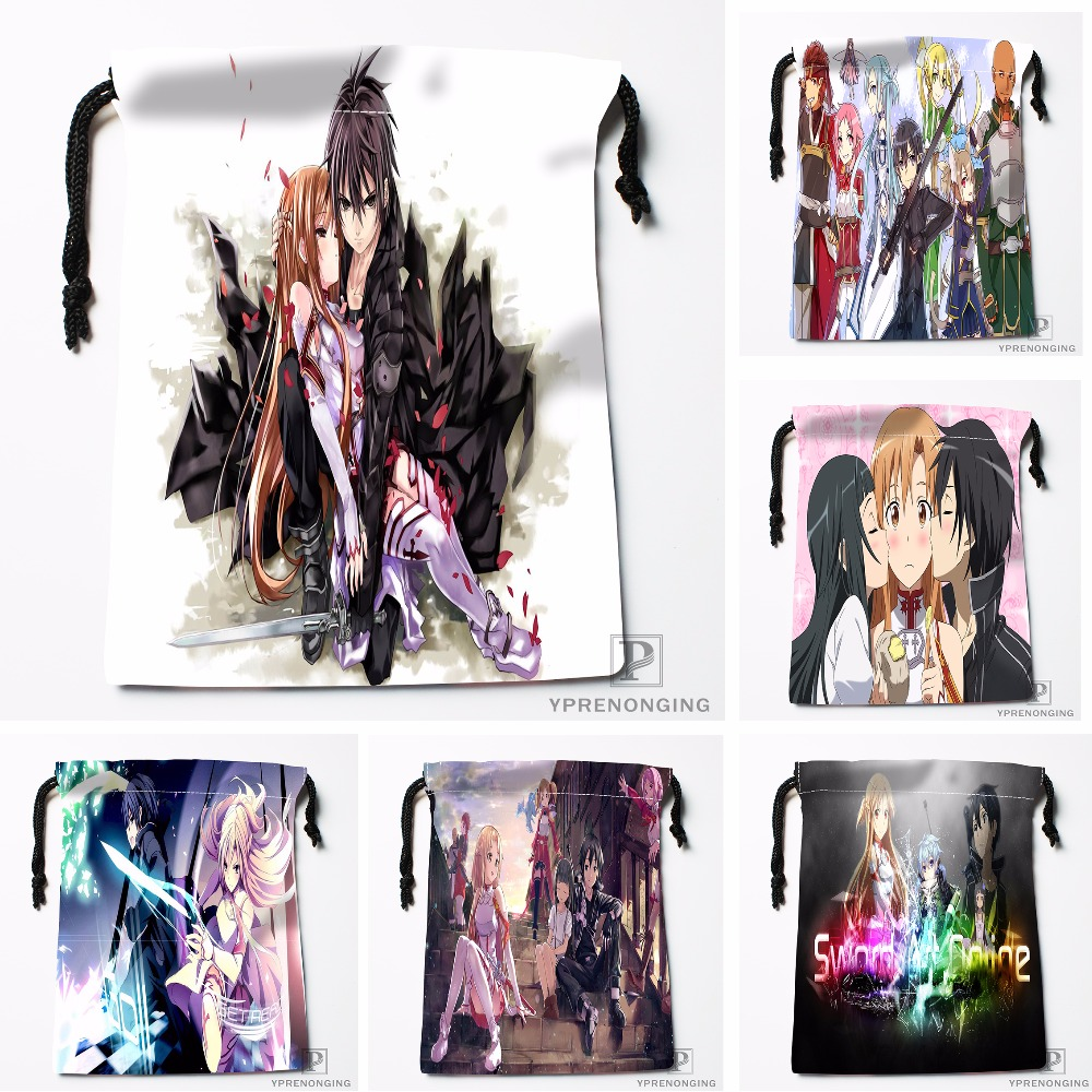 Custom Sword Art Online Drawstring Bags Printing Travel Storage Mini Pouch Swim Hiking Toy Bag Size 18x22cm#180412-11-35