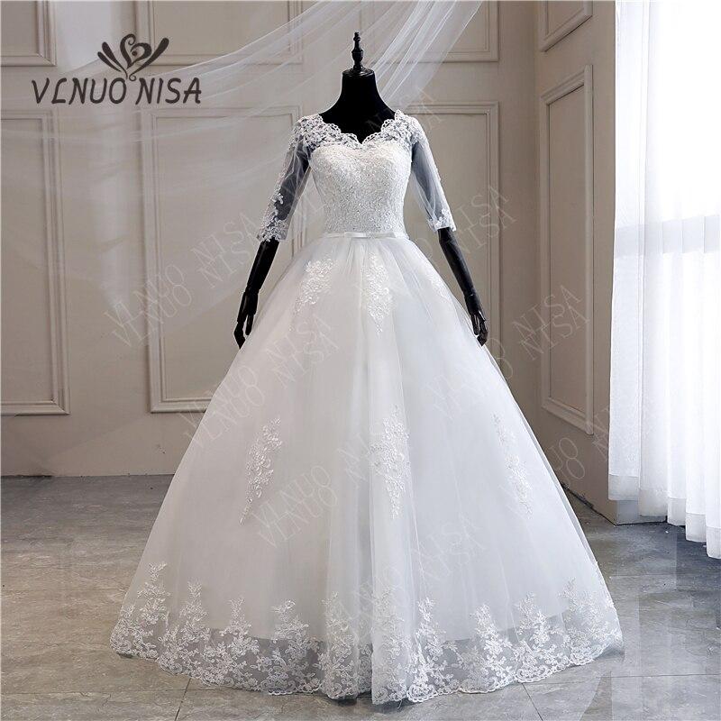100cm TrainRobe De Mariee Grande Taille New Wedding Dress Lace V-Neck Half Sleeve Ball Gown Princess Plus Size Vintage Brides 7