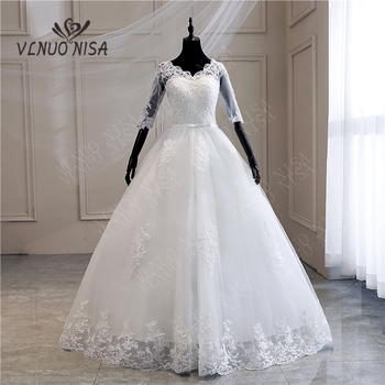 100cm TrainRobe De Mariee Grande Taille New Wedding Dress Lace V-Neck Half Sleeve Ball Gown Princess Plus Size Vintage Brides 7