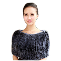 Autumn Winter Ladies' Genuine Real Knitted Rabbit Fur Shawls scarf Women Fur Pashmina Poncho Female Party Pullover