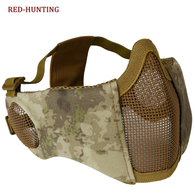 Wholesale AU Top Foldable Half Face Airsoft Mesh Mask With Ear Protection Military Tactical Lower Face Protective Mask