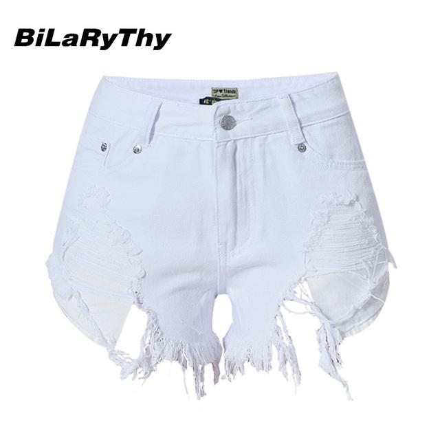 BiLaRyThy Moda Sólido Blanco Vaqueros de Las Mujeres Algodón Delgado Ripped Denim Shorts Summer Casual Pantalones Cortos Irregulares
