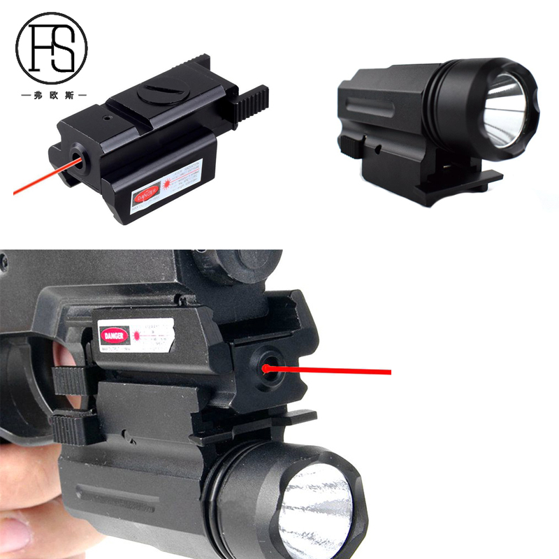 2 In 1 Combo Tactical Red Laser Sight + X100 LED Flashlight Huting Equipment Pistol Gun Laser Sight And Torch For 20mm Rail