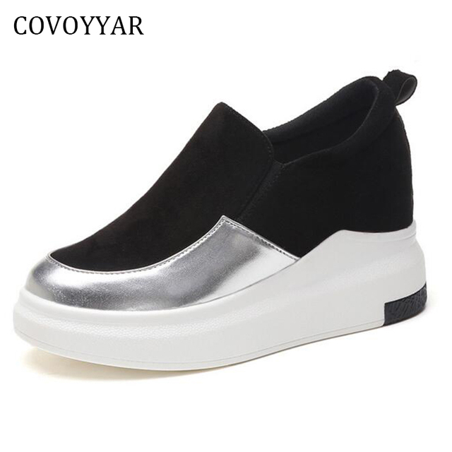 COVOYYAR 2018 Sequin Women Casual Shoes Spring Autumn Comfort Platform Ladies Sneakers Slip On Flat Women Shoes WSN160