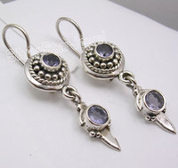 Silver IOLITE Lovely Dangle Earrings 4CM