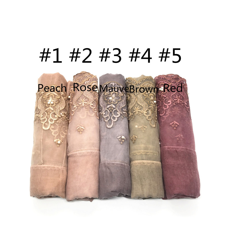 Image 5 - 1pc Two Sides Lace Edges Muslim Cotton Scarf Plain Hijab With 