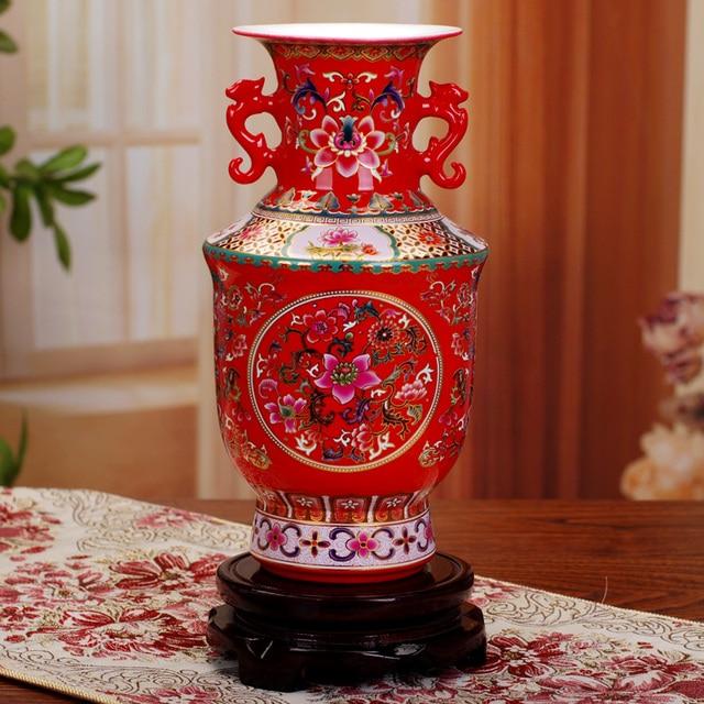 Jingdezhen Antique Ancient Enamel Ceramic Flower Vase Decorative