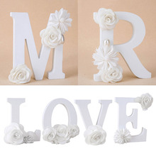 English Letters Standing Wedding Decoration DIY Name Design Flower Alphabet Handcrafts Ornaments Home Decor 1Pcs