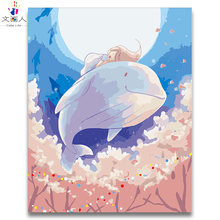 Cartoon anime Digital paint by numbers Whale and girl Oil Painting by numbers ocean whale cute animal Children's room decoration(China)