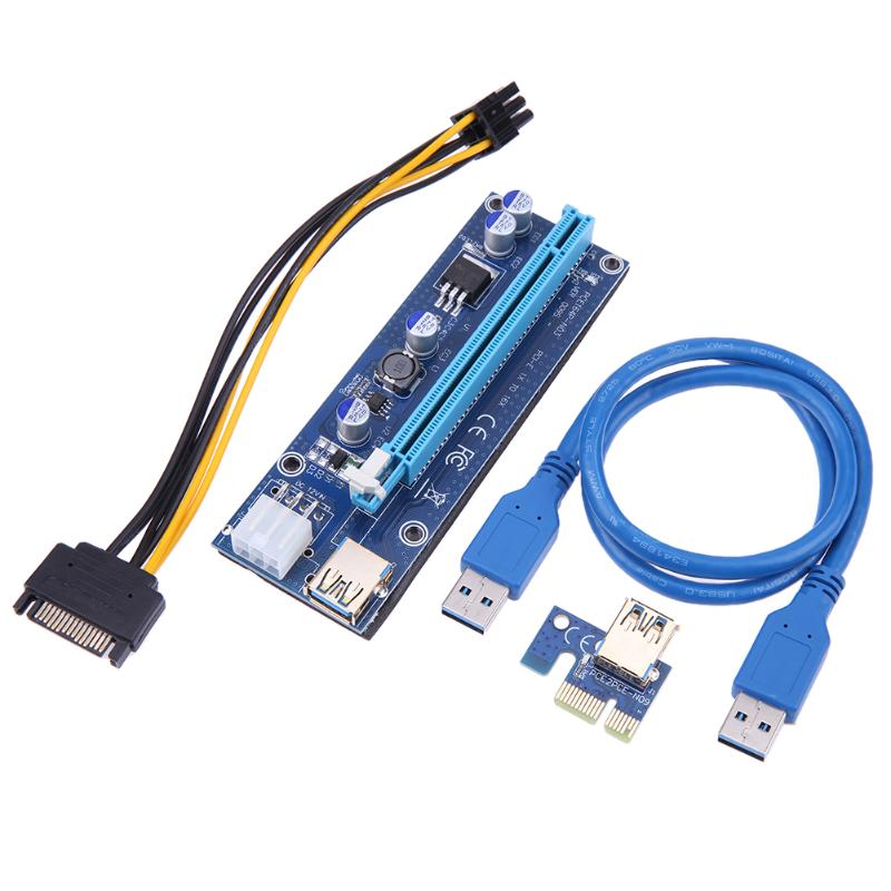 PCIe riser PCI-E 1X to 16X Riser Card with 15Pin SATA to 6Pin Power Cord +60cm USB 3.0 Data Cable for BTC LTC Miner mining