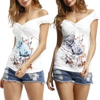 Fashion Women Sexy V-neck Floral Vest T-shirt Summer Casual T-shirt Slim Fit Tee Tops 99  -MX8