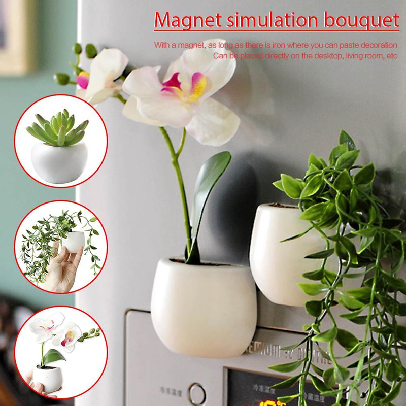 Creative MINI Fridge <font><b>Magnetic</b></font> <font><b>Flowers</b></font> <font><b>Pot</b></font> Fridge Sticker Simulated Green Planting Succulent Plant Magnet Home Wall Decoration image