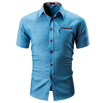Ανδρικό κοντομάνικο jean πουκάμισο