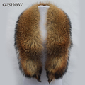 100% Natural Raccoon Fur Collar 130cm Long Brand Real Fur Ring Scarf Women Genuine Raccoon Fur Collars for Down Jacket Female