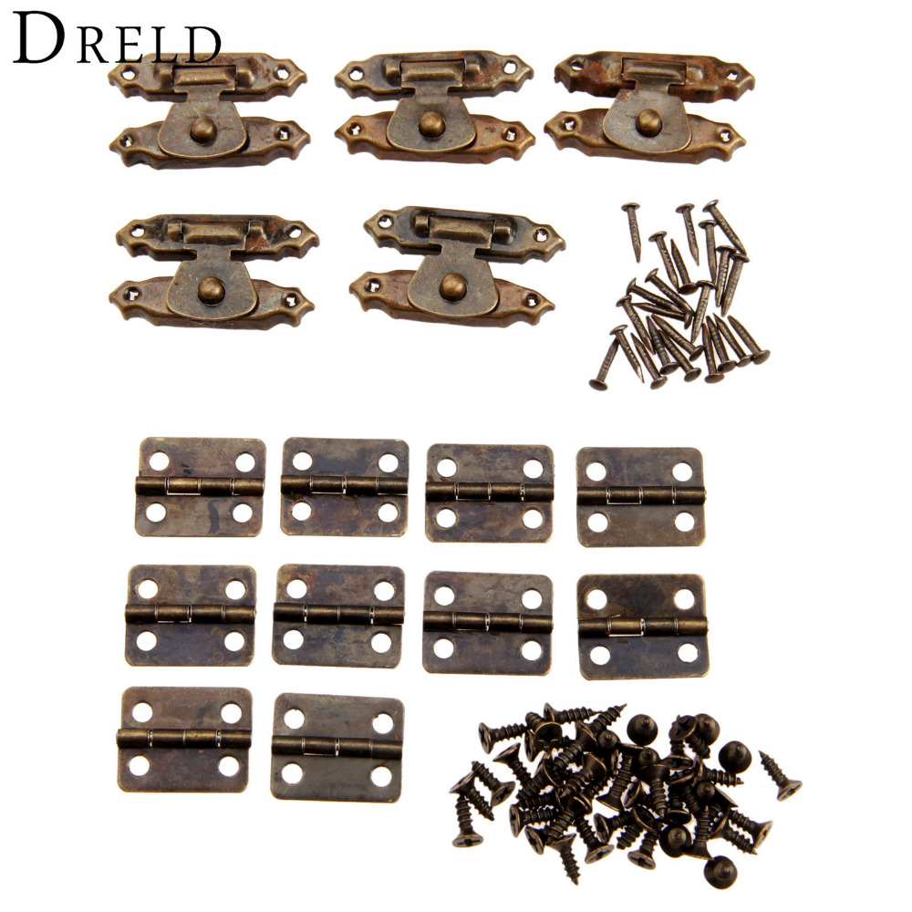 5Pcs Antique Bronze Jewelry Wooden Box Case Toggle Hasp Latch +10Pcs Cabinet Hinges  Iron Vintage Hardware Furniture Accessories 2pcs set stainless steel 90 degree self closing cabinet closet door hinges home roomfurniture hardware accessories supply