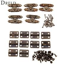 10 Uds mueble de bronce antiguo bisagras de armario + 5 uds caja de madera de la joyería CaseToggle cerrojo hierro Vintage accesorios de Hardware