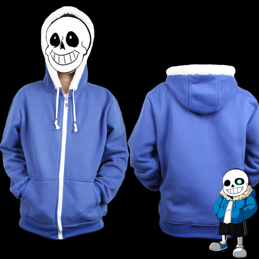 Game Undertale Sans Hoodies Cosplay Coat Sweatshirts  Fashion Zipper Winter Keep Warm Long Sleeve Jacket Cosplay Costume Hooded