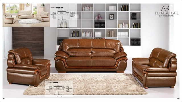 US $1980.0 |Iexcellent modern design genuine leather sectional sofa,sofa  set living room furniture leather sofa 1+2+3 sofa set-in Living Room Sofas  ...