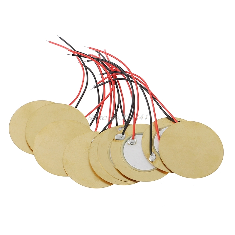 10pcs 35mm Piezo Elements Buzzer Sounder Sensor Trigger Drum Disc+ Wire Copper Oct18 Electronics Stocks