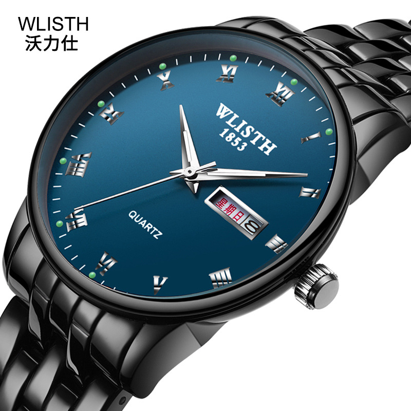 Fashion Wlisth Brand New Couple Gift Stainless Steel Band Bussiness Men Women Clock Classic Double Calendar Lovers Wrist Watch