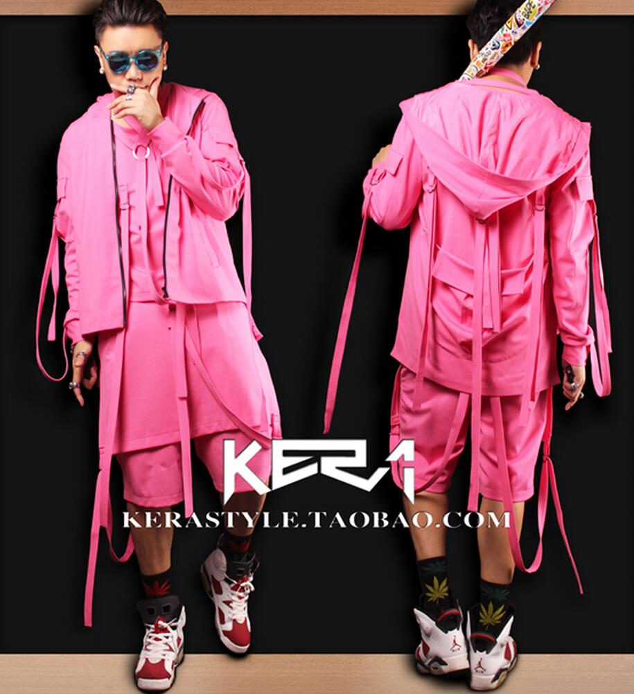 S-4XL! 2017 NEW Men's fashion GD Beyonce Pink belt with cap jacket performance coat formal dress singer costumes clothing