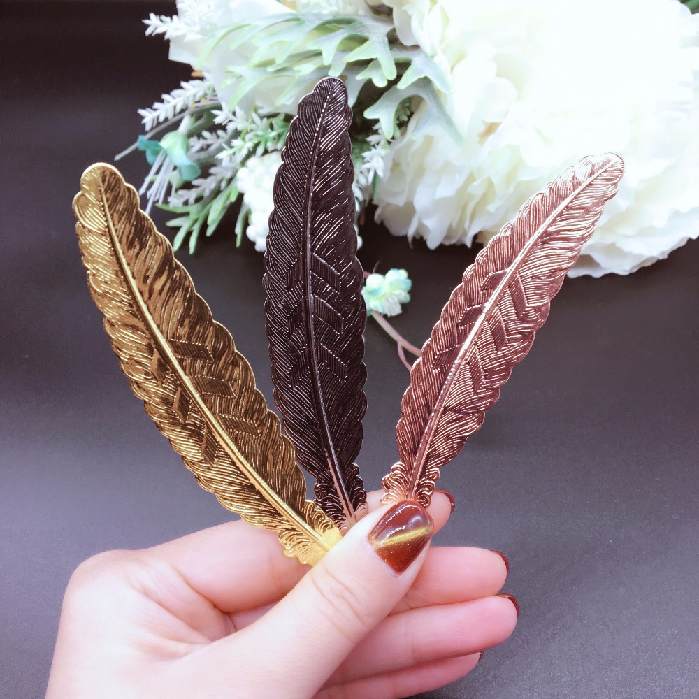 Creative Metal Silver Plated Feather Bookmark Chinese Style Vintage Page Marker Nice Cool Book Markers School Supplies