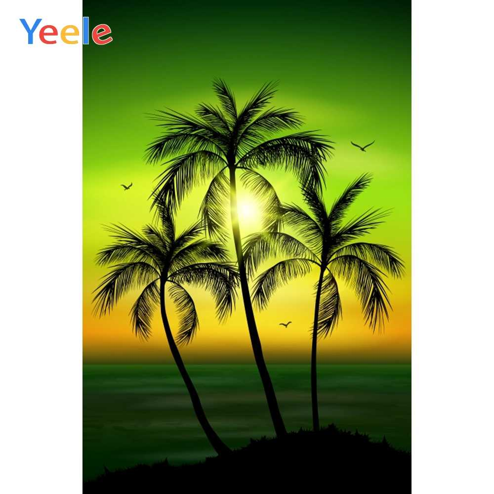 Yeele-Easter-Backdrop 10x8ft Easter Photography Background Eggs Blue Sky Beach Ocean Palm Tree Sunglasses Sunshine Photo Backdrops Pictures Studio Props Wallpaper