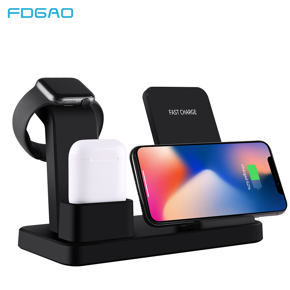 Compatible with iPhone 11 Pro//XS Max//XR//X//8 Plus Samsung Galaxy S10//S9//S8//S7 and All Qi-Enabled Cell Phone 3 in 1 Wireless Charger Station AirPods and Phone Qi Fast Charging Dock for Apple Watch