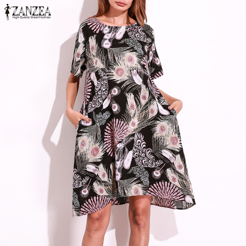 Plus Size 2018 ZANZEA Vintage Women Short Sleeve Random Floral Printed Boho Summer Casual Party Loose Knee Length Dress Vestido