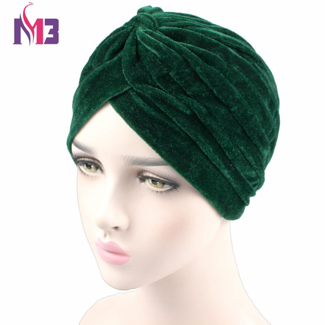 1f83af63f3b New Fashion Celeb Style Neon Casual Double Stretch Velvet Turban Headwrap  Turbante Hat Women Hijab Headwear