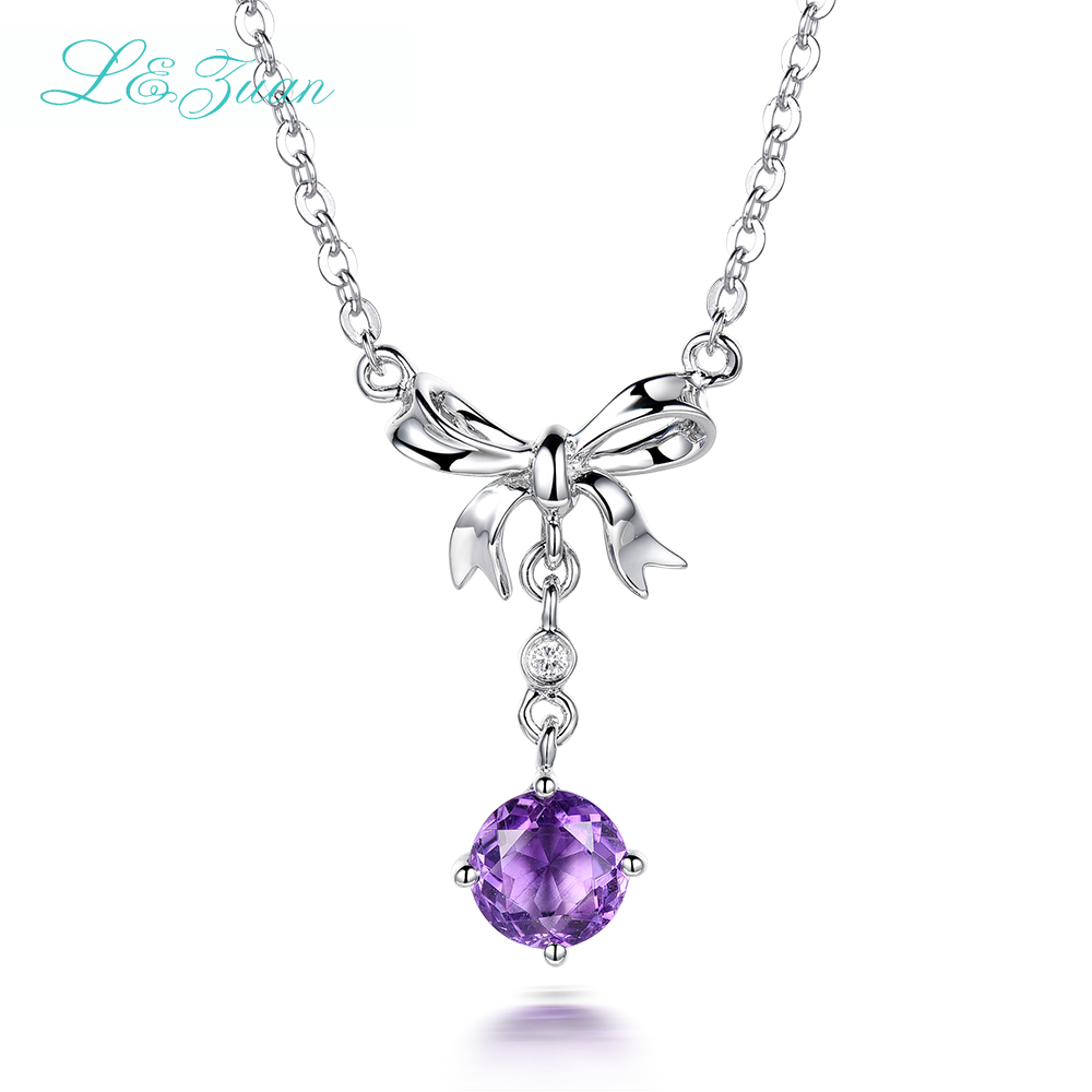I&Zuan 925 Sterling Silver Bowknot Pendant Necklace For Women Natural 1.12ct Amethyst Purple Stone Diamond Chaveiro Fine JewelryI&Zuan 925 Sterling Silver Bowknot Pendant Necklace For Women Natural 1.12ct Amethyst Purple Stone Diamond Chaveiro Fine Jewelry