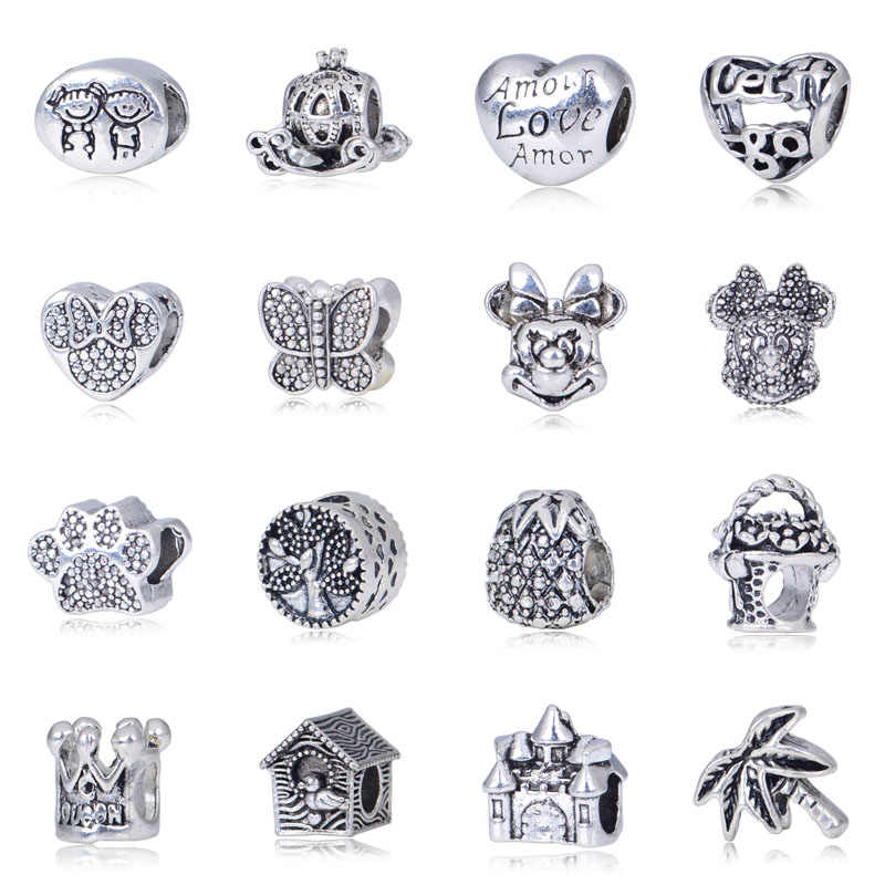 2pc/Lot Beads Pendant fit Pandora Charm Bracelet Bangle Heart Love Beads Angel Crown Minnie Mickey Castle DIY Jewelry