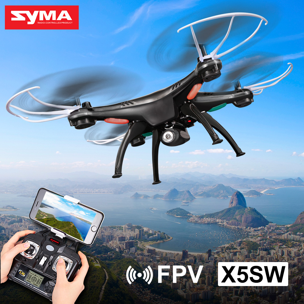 SYMA X5SW WIFI FPV Drone 2.4G 4CH 6-Axis RC Quadcopter with 0.3MP HD Camera RC Helicopter jjr c jjrc h43wh h43 selfie elfie wifi fpv with hd camera altitude hold headless mode foldable arm rc quadcopter drone h37 mini