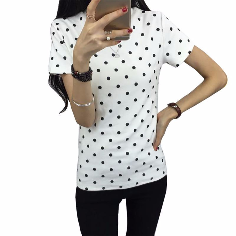 HTB1.PyALXXXXXb9XXXXq6xXFXXXi - Women's T-Shirt  Polka Black Dotted Clothes Shirt